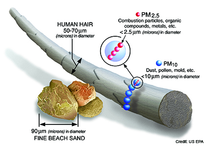 Description of PM2.5 relative size compared to human hair or a grain of sand