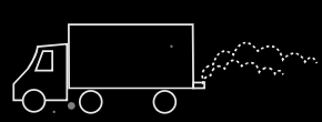 Illustration of emissions from a commercial truck